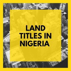 land titles in Nigeria